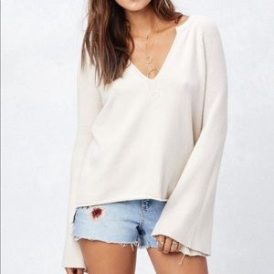 Love Stitch Bell Sleeved V neck Sweater